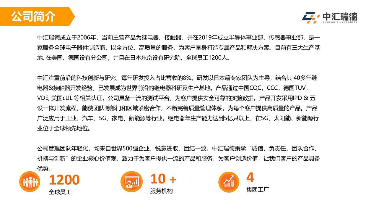 宝融公司优势代理中汇瑞德(CHUROD)品牌继电器、接触器